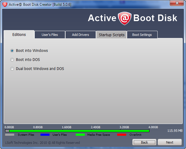 Active@ Boot Disk Options
