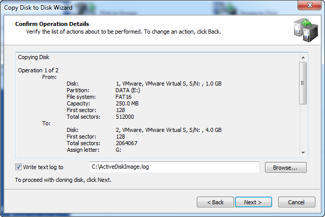 Disk Image software. Confirm Operation Details