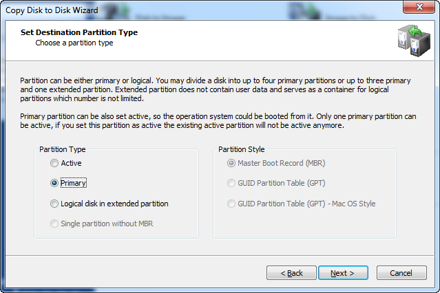 Disk Image software.Set Destination Partition Type