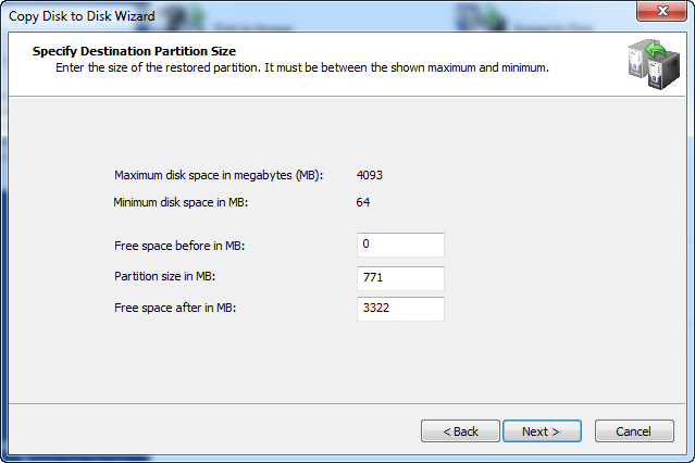 Disk Image software.Specify Destination Partition Size
