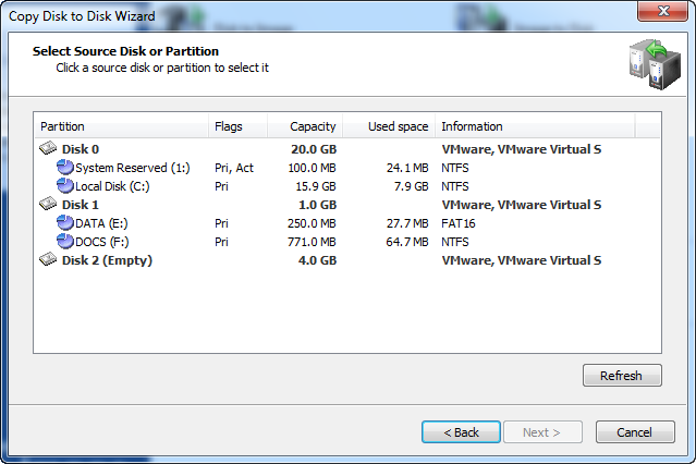 Disk Image: Copy Disk to Partition