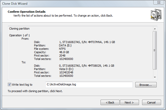 Disk Image software. Confirming Clone Details