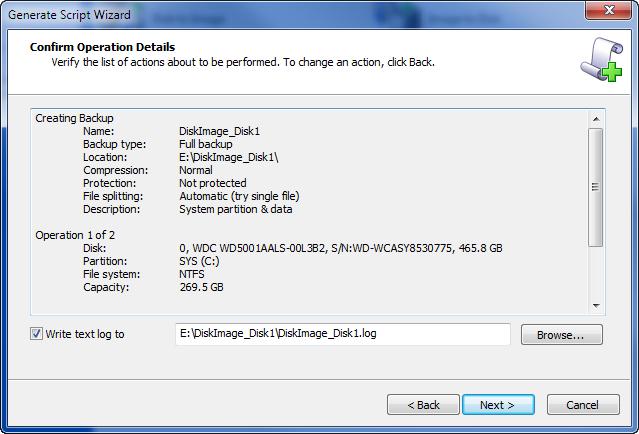 Disk Backup: Creating a Script