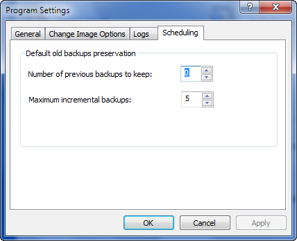 Disk Image Settings - Scheduling